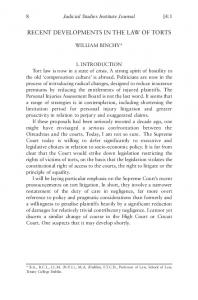 Recent Developments in the Law of Torts - Judicial Studies Institute ...
