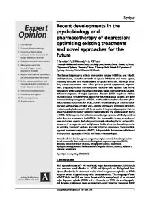 Recent developments in the psychobiology and ...