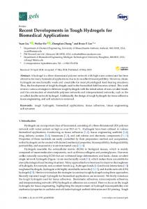 Recent Developments in Tough Hydrogels for Biomedical ... - MDPI