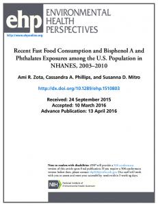 Recent Fast Food Consumption and Bisphenol A and Phthalates ...