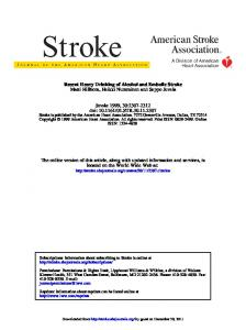 Recent Heavy Drinking of Alcohol and Embolic Stroke