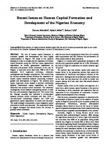 Recent Issues on Human Capital Formation and Development of the ...