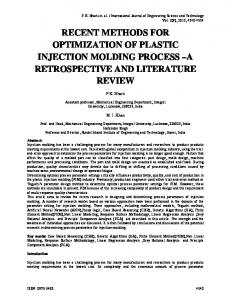 recent methods for optimization of plastic injection