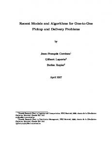 Recent Models and Algorithms for One-to-One ... - Semantic Scholar