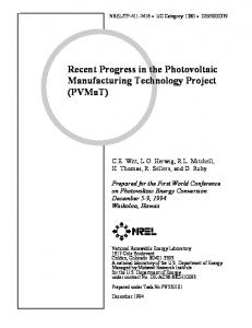 Recent Progress in the Photovoltaic Manufacturing ... - NREL