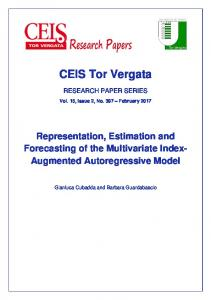 RECENT PUBLICATIONS BY CEIS Tor Vergata
