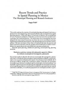 Recent Trends and Practice in Spatial Planning in Mexico