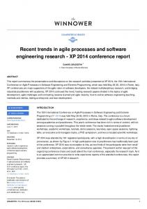 Recent trends in agile processes and software