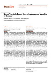 Recent Trends in Breast Cancer Incidence and Mortality in Germany