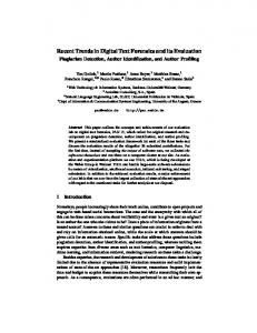 Recent Trends in Digital Text Forensics and its Evaluation - Bauhaus ...