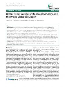 Recent trends in exposure to secondhand smoke in ... - BioMed Central