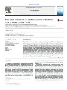 Recent trends in membranes and membrane ...