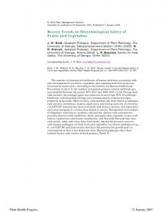 Recent Trends in Microbiological Safety of Fruits ... - Semantic Scholar