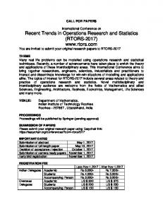 Recent Trends in Operations Research and Statistics