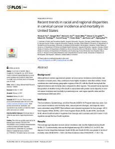 Recent trends in racial and regional disparities in cervical cancer ...