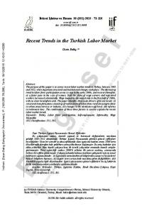 Recent Trends in the Turkish Labor Market