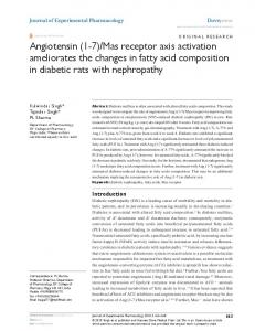 receptor axis activation ameliorates the changes in fatty acid ...