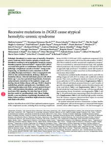 Recessive mutations in DGKE cause atypical ...