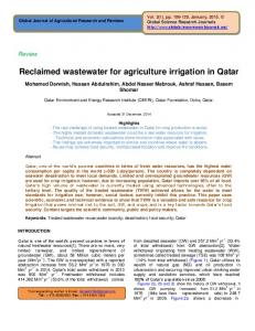 Reclaimed wastewater for agriculture irrigation in Qatar