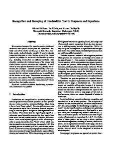 Recognition and Grouping of Handwritten Text in ... - CiteSeerX