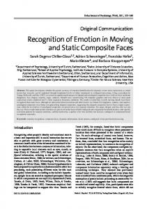 Recognition of Emotion in Moving and Static Composite Faces - CASRA