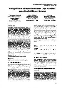 Recognition of Isolated Handwritten Oriya Numerals using ... - CiteSeerX