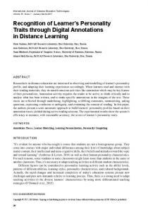 Recognition of Learner's Personality Traits through ...