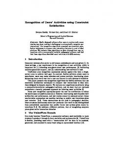 Recognition of Users' Activities using Constraint Satisfaction