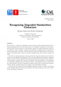 Recognizing Degraded Handwritten Characters - Semantic Scholar