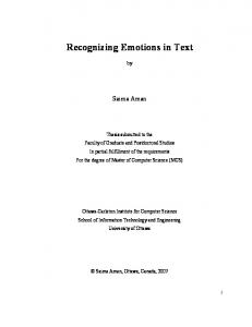 Recognizing Emotions in Text - Semantic Scholar