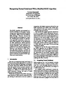 Recognizing Textual Entailment With a Modified ...
