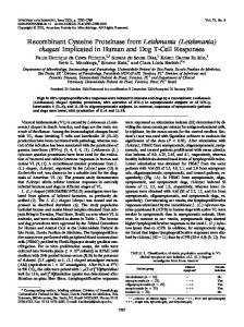 Recombinant Cysteine Proteinase from Leishmania - Infection and ...