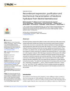 Recombinant expression, purification and biochemical ... - PLOS