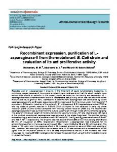 Recombinant expression, purification of L- asparaginase-II from ...