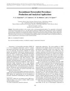 Recombinant Horseradish Peroxidase: Production and ... - Springer Link