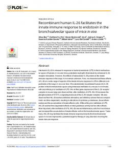 Recombinant human IL-26 facilitates the innate immune response to