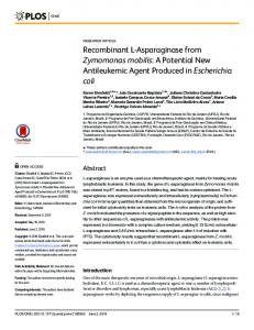 Recombinant L-Asparaginase from Zymomonas mobilis: A ... - PLOS