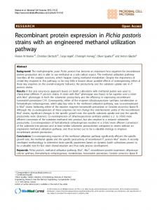 Recombinant protein expression in Pichia pastoris ... - BioMedSearch
