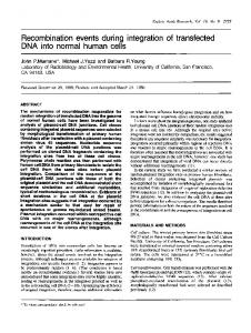 Recombination events during integration of ... - BioMedSearch