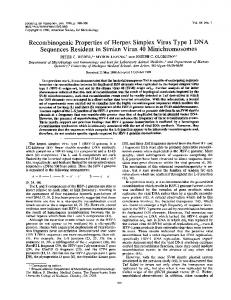 Recombinogenic Properties of Herpes Simplex ... - Journal of Virology