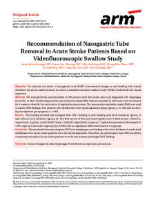 Recommendation of Nasogastric Tube Removal ... - KoreaMed Synapse
