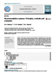 Recommendation systems: Principles, methods and