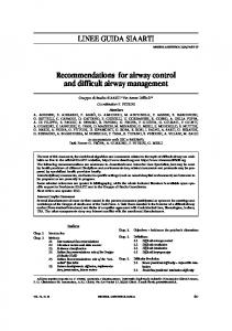 Recommendations for airway control and difficult airway management