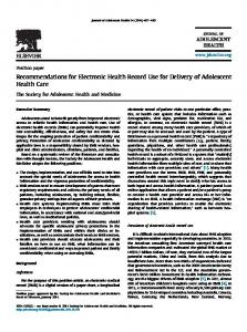 Recommendations for Electronic Health Record Use for Delivery of ...