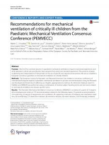 Recommendations for mechanical ventilation of ... - Springer Link