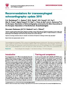 Recommendations for transoesophageal echocardiography : update ...