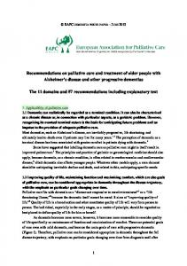 Recommendations on palliative care and treatment of older people ...