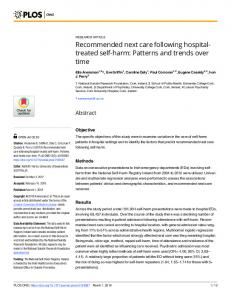 Recommended next care following hospital-treated self-harm: Patterns ...