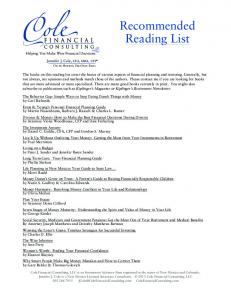 Recommended Reading - Cole Financial Consulting, LLC