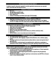RECOMMENDED RESUME FORMAT In addition to specific ...
